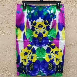 Pencil Skirt Abstract Flower Design